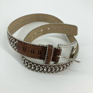 Guess Brown Silver Crystal Studded Belt
